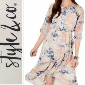 Style & co pink floral boho dress